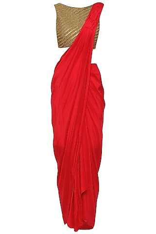 Red Drape Skirt with Embroidered Croptop and Cape by Tisha Saksena