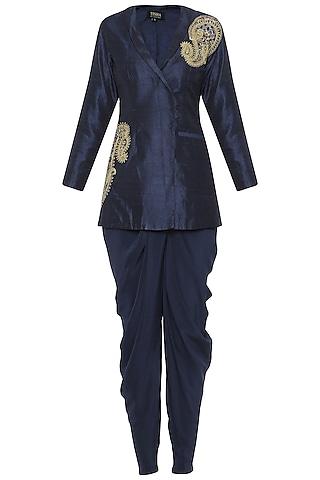 Navy Blue Embroidered Jacket with Dhoti Pants by Tisha Saksena
