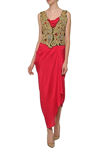 Red Asymmetrical Dress with Cutwork Embroidered Jacket by Tisha Saksena