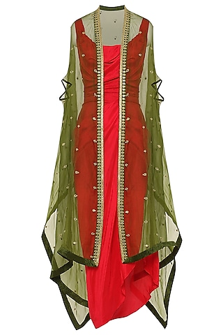 Red Asymmetrical Pleated Dress with Green Embroidered Cape by Tisha Saksena