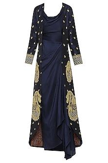 Navy Blue Asymmetrical Dress with Embroidered Jacket by Tisha Saksena