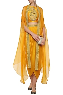 Yellow Crop Top with Embroidered Cape and Drape Skirt by Tisha Saksena