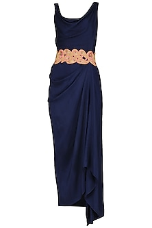 Blue Maxi Dress with Embroidered Belt by Tisha Saksena