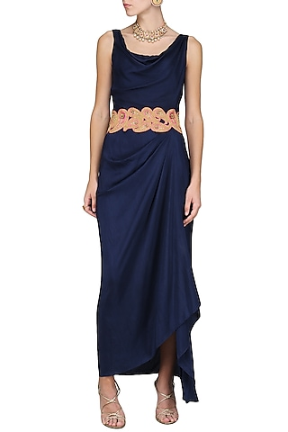 Blue Maxi Dress with Embroidered Belt by Tisha Saksena