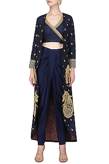 Navy Blue Embroidered Jacket with Crop Top and Dhoti Pants by Tisha Saksena
