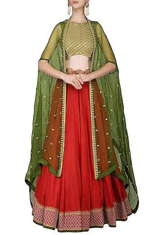 Red and Green Lehenga Set with Cape by Tisha Saksena