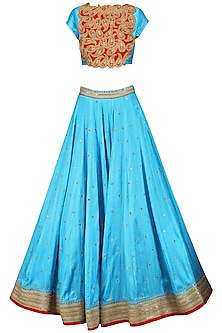 Turquoise Embroidered Lehenga Set by Tisha Saksena