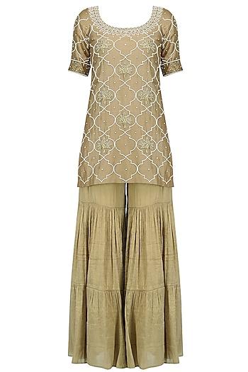 Gold Pearl Embroidered Short Kurta and Garara Pants Set by Tisha Saksena