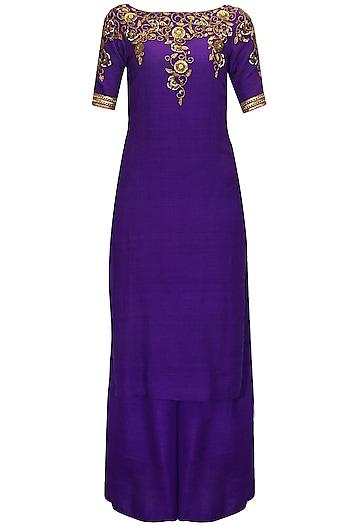 Deep violet embroidered kurta with palazzo pants by Tisha Saksena