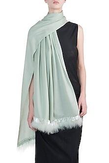 Mint sequins and fur scarf by The Scarf Story