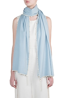 Ice blue tassel and pearl scarf by The Scarf Story