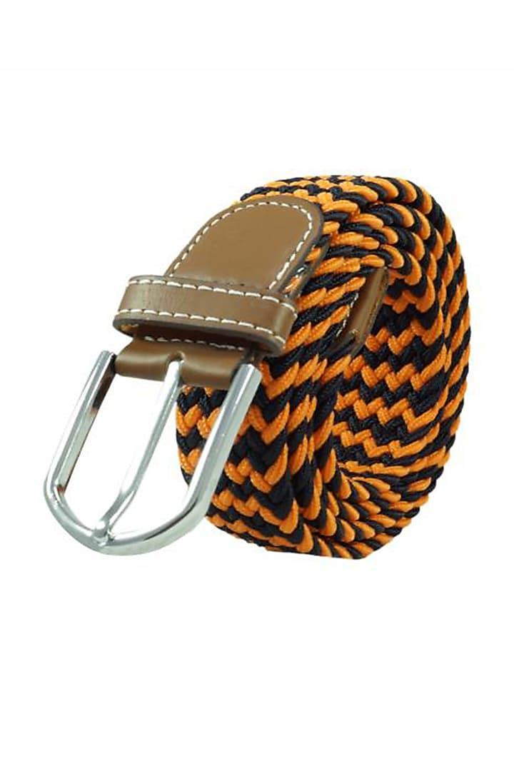 Orange Woven Silk Elasticated Belt by THE TIE HUB