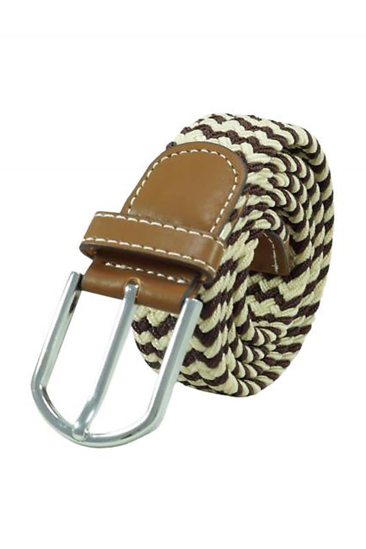 Brown Woven Silk Elasticated Belt by THE TIE HUB