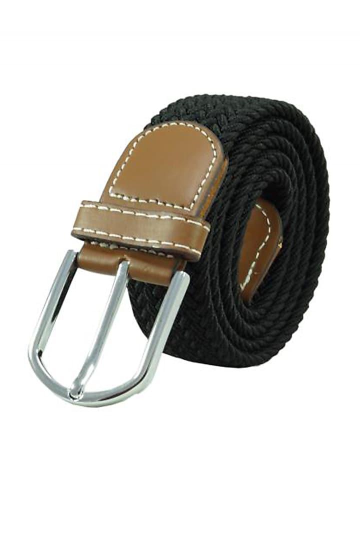 Black Woven Silk Elasticated Belt by THE TIE HUB
