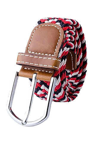 Red Rayon & Woven Silk Elasticated Belt by THE TIE HUB