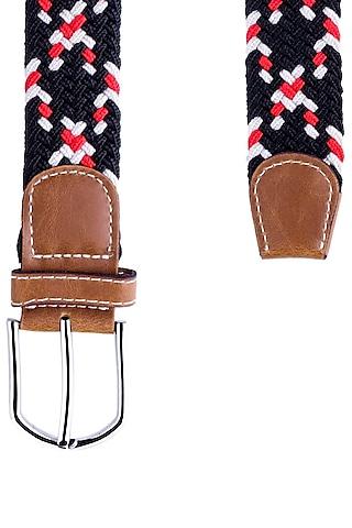 Black Rayon & Woven Silk Elasticated Belt by THE TIE HUB