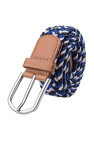 Blue Woven Silk Elasticated Belt by THE TIE HUB