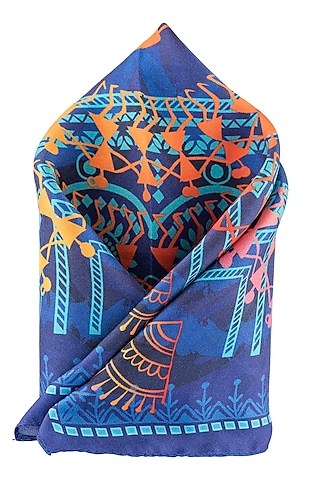 Blue Pocket Square With Hand Stitch by THE TIE HUB