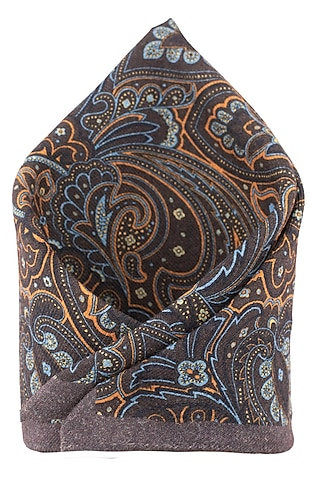 Brown Hand Stitched Wool Pocket Square by THE TIE HUB
