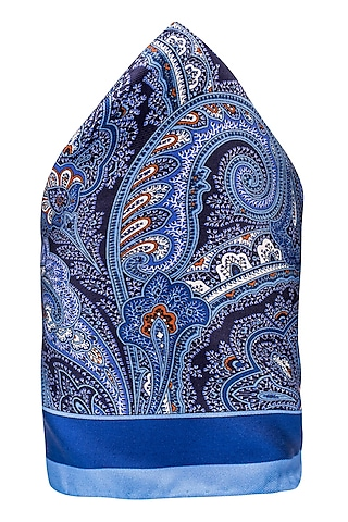 Blue Hand Stitched Pocket Square by THE TIE HUB