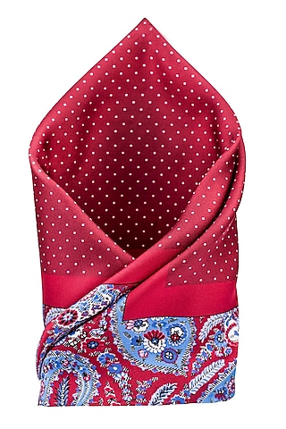 Red Hand Stitched Silk Pocket Square by THE TIE HUB