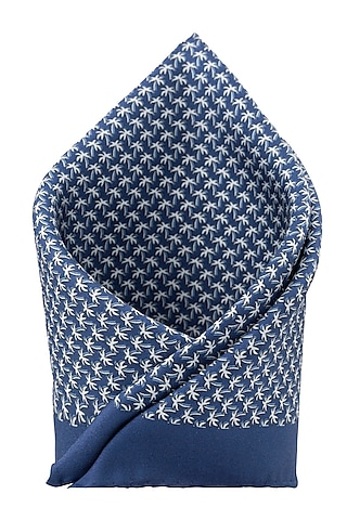 Blue Silk Hand Stitched Pocket Square by THE TIE HUB