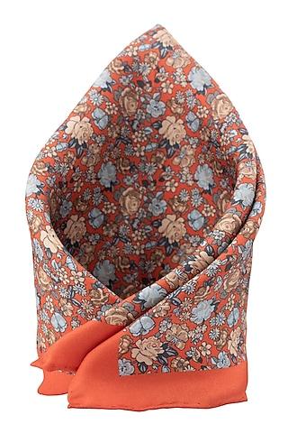 Orange Pure Silk Pocket Square by THE TIE HUB