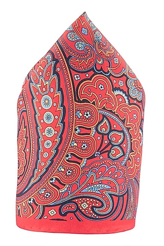 Red Hand Stitched Pocket Square by THE TIE HUB
