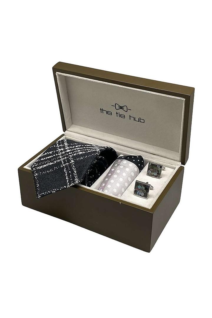 Grey Hand Stitched Necktie Set (Set Of 3) by THE TIE HUB