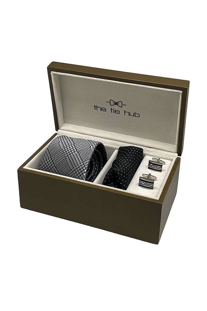 Grey Woven Silk Hand Stitched Necktie Set (Set Of 3) by THE TIE HUB