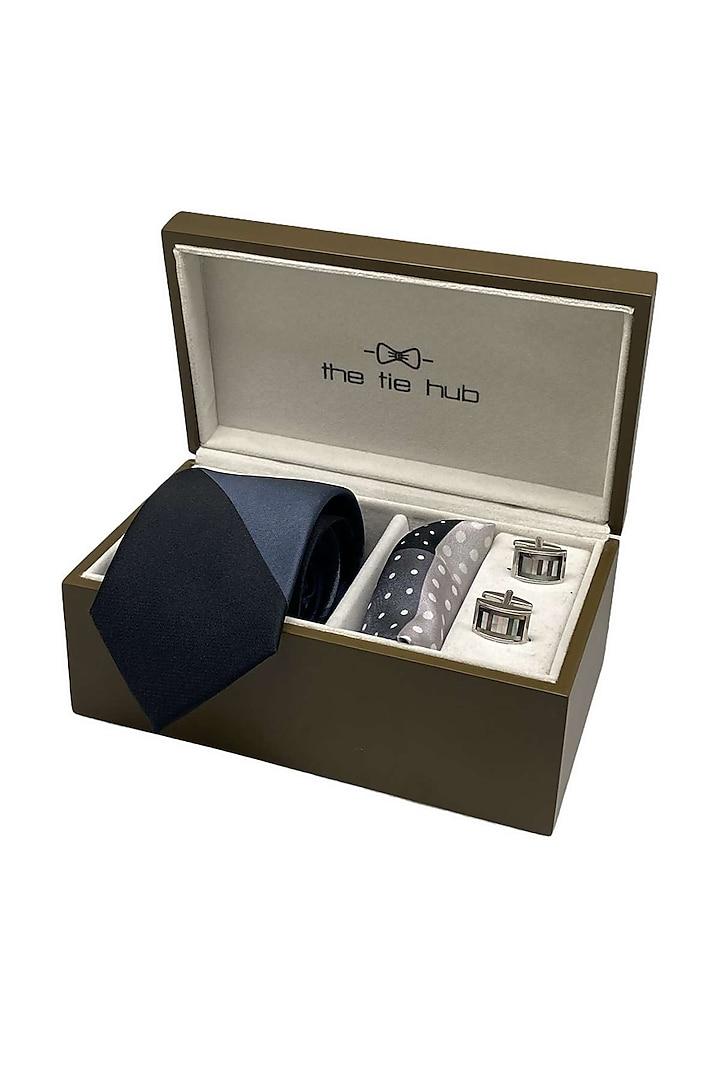 Grey Silk Pocket Square Set (Set Of 3) by THE TIE HUB