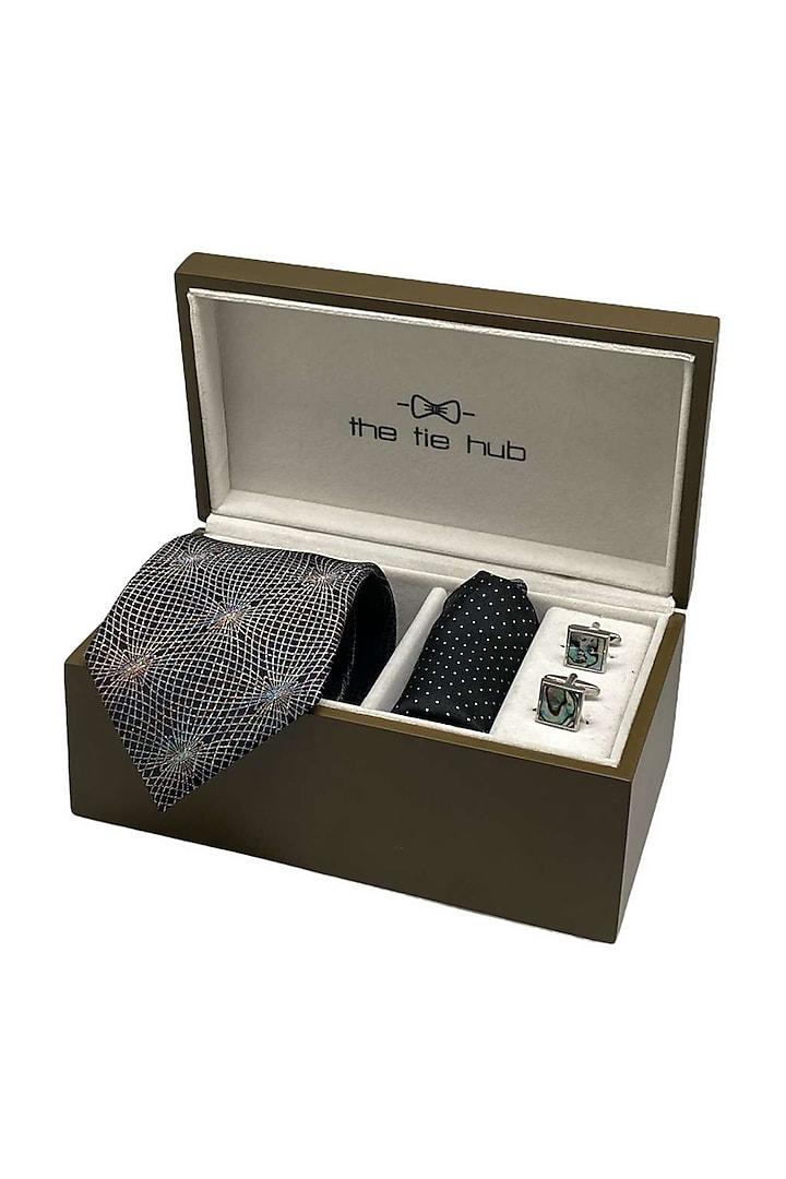 Black Hand Stitched Necktie Set (Set Of 3) by THE TIE HUB