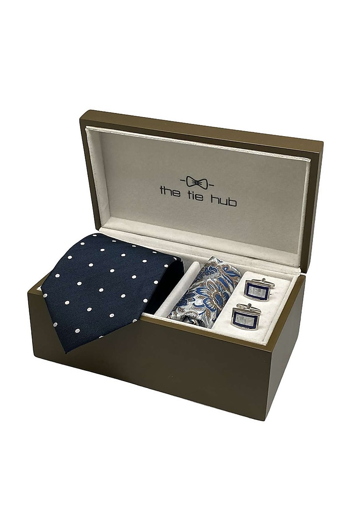 Blue Woven Silk Hand Stitched Necktie Set (Set Of 3) by THE TIE HUB