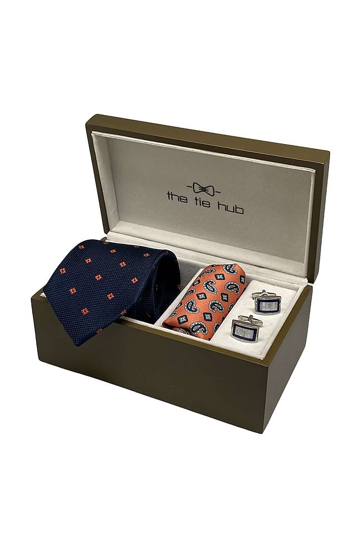 Blue Woven Hand Stitched Necktie Set (Set Of 3) by THE TIE HUB