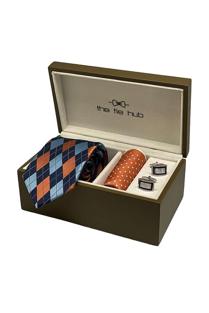 Blue Silk Pocket Square Set (Set Of 3) by THE TIE HUB