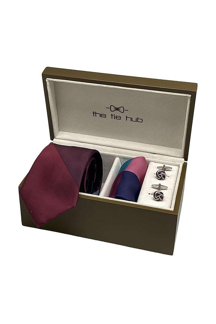 Maroon Woven Silk Hand Stitched Necktie Set (Set Of 3) by THE TIE HUB