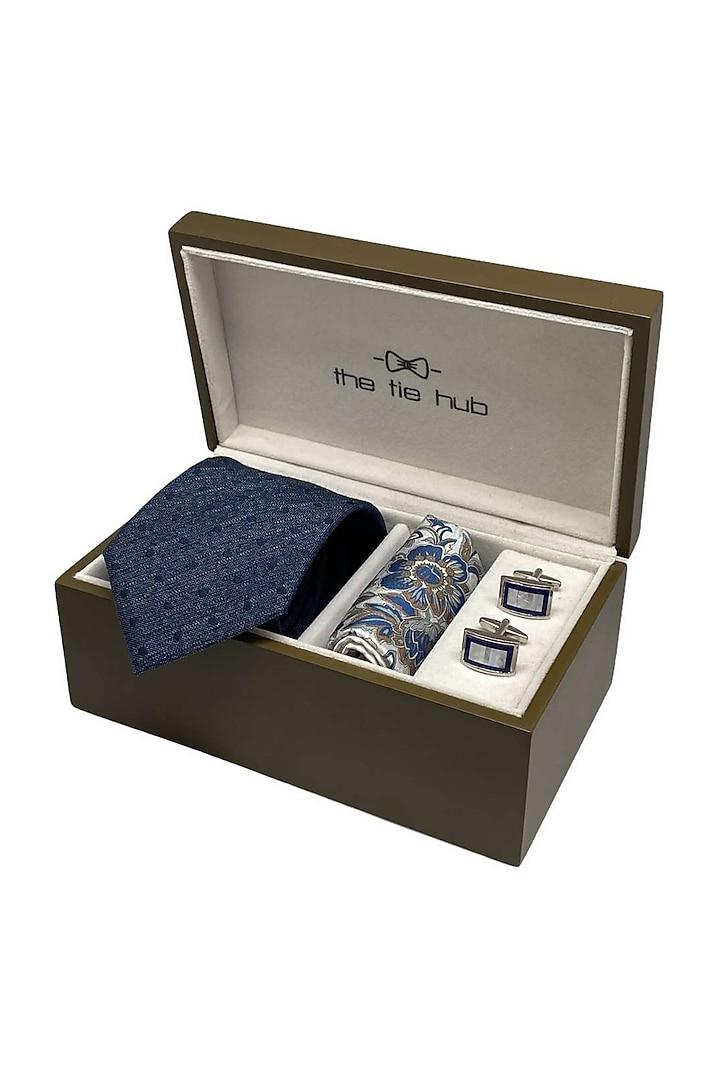 Blue Hand Stitched Necktie Set (Set Of 3) by THE TIE HUB