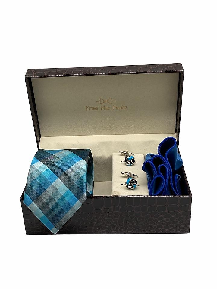 Blue Hand Stitched Checkered Necktie Set (Set Of 3) by THE TIE HUB