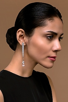 Black Rhodium Finish Strand Earrings With Swarovski Crystals by Tarun Tahiliani X Confluence
