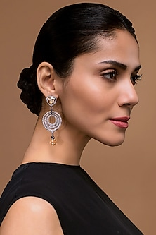 Black Rhodium Finish Chand Earrings With Swarovski Crystals by Tarun Tahiliani X Confluence