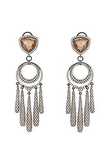 Black Rhodium Finish Layered Chand Earrings With Swarovski Crystals by Tarun Tahiliani X Confluence