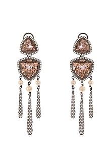Black Rhodium Finish Drop Earrings With Swarovski Crystals by Tarun Tahiliani X Confluence