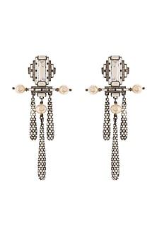 Black Rhodium Finish Drop Earrings With Swarovski Crystals & Pearls by Tarun Tahiliani X Confluence