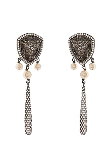 Black Rhodium Finish Drop Stud Earrings With Swarovski Crystals by Tarun Tahiliani X Confluence