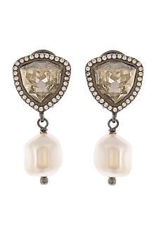 Black Rhodium Finish Stud Earrings With Swarovski Crystals & Pearls by Tarun Tahiliani X Confluence