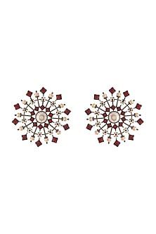 Black Rhodium Finish Stud Earrings With Pearls & Swarovski Crystals by Tarun Tahiliani X Confluence