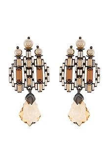 Black Rhodium Finish Stud Earrings With Swarovski by Tarun Tahiliani X Confluence