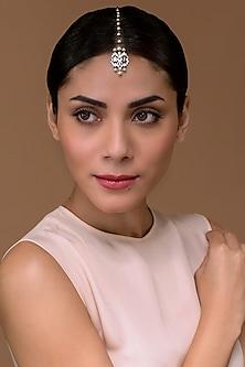 Black Rhodium Finish Maang Tikka With Swarovski Crystals by Tarun Tahiliani X Confluence