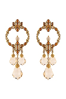 Gold Finish Statement Earrings With Swarovski Crystals by Tarun Tahiliani X Confluence