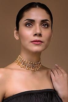 Gold Finish Statement Choker Necklace With Swarovski Crystals by Tarun Tahiliani X Confluence